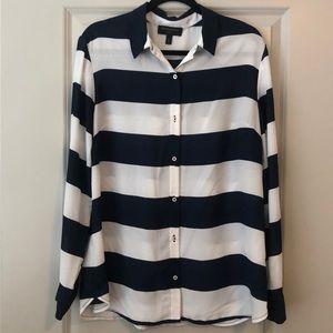 White & Navy blue striped blouse